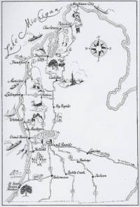 """Publications like this map promoted Grand Rapids as the """"Gateway to the Playground of a Nation."""" (Grand Rapids Public LIbrary Ephemera Collection)"""
