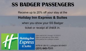 SS Badger Guest Discount at Holiday Inn Express Ludington